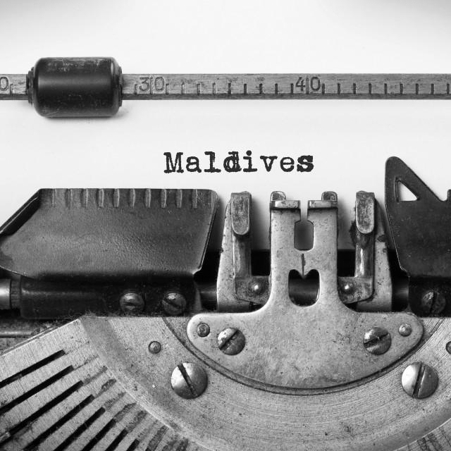 """""""Old typewriter - Maldives"""" stock image"""