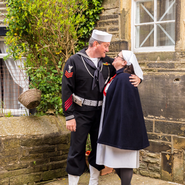 """""""Visitors participating in the war time 1940's weekend bu dressing in various..."""" stock image"""