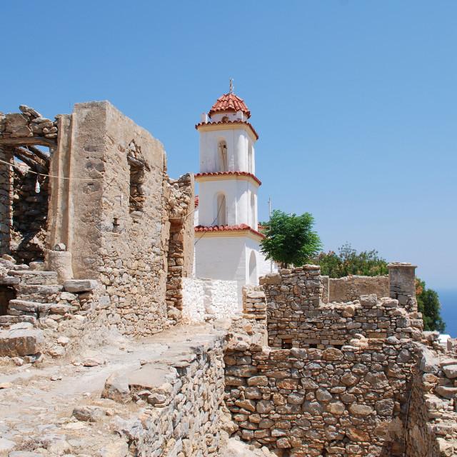 """""""Agia Zoni church, Tilos"""" stock image"""