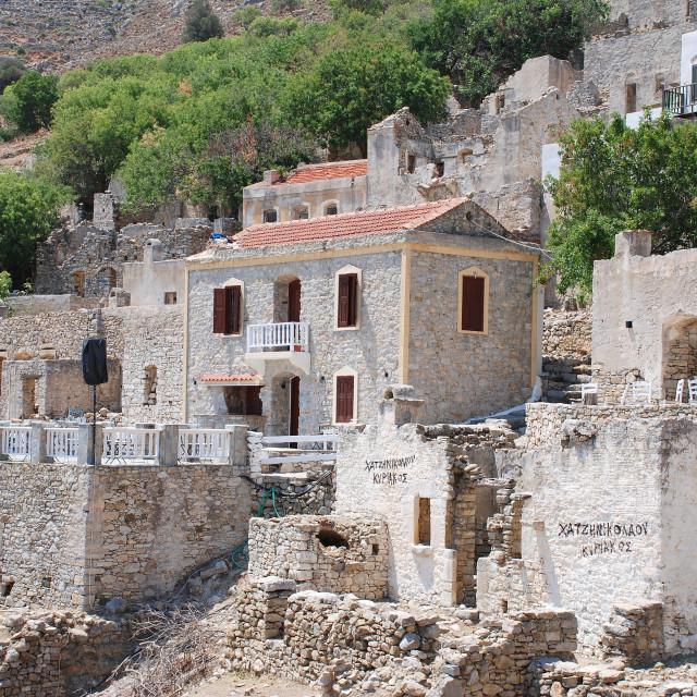 """Mikro Chorio village, Tilos"" stock image"