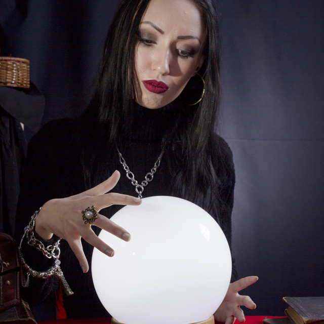 """Fortune teller with a magic ball"" stock image"