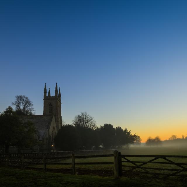 """Misty english church scene"" stock image"