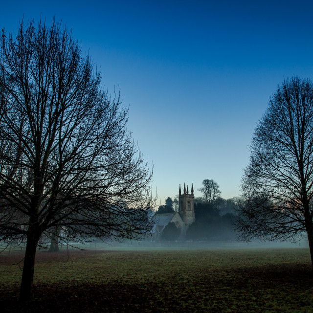 """Misty english church scene"" stock image"