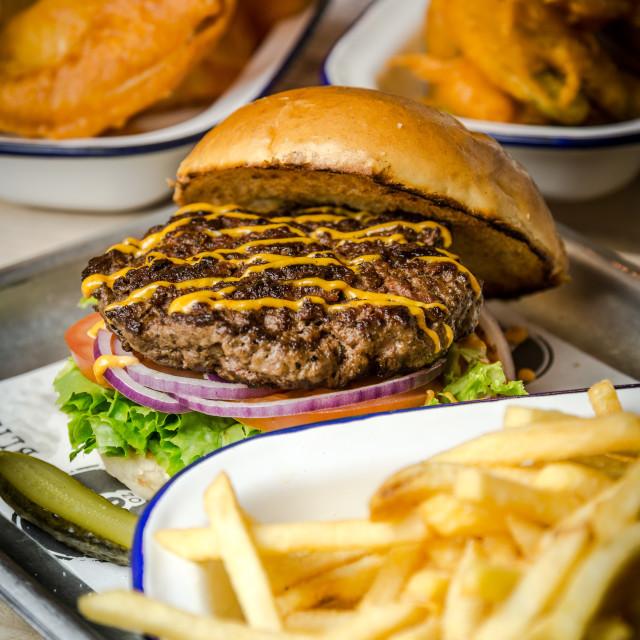 """Classic Beef Burger"" stock image"