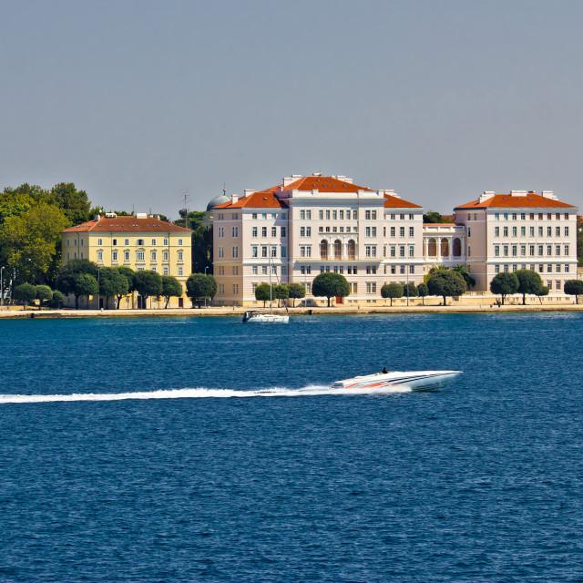 """Zadar peninsula waterfront with powerboat"" stock image"