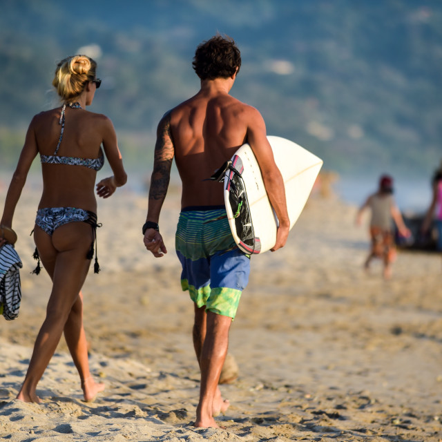 """Surfer Couple"" stock image"