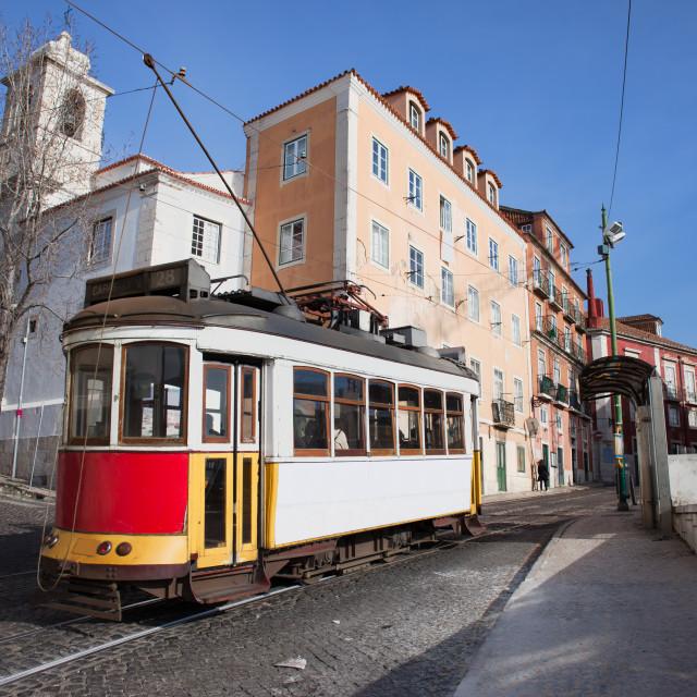 """Historic Tram in Alfama District of Lisbon"" stock image"