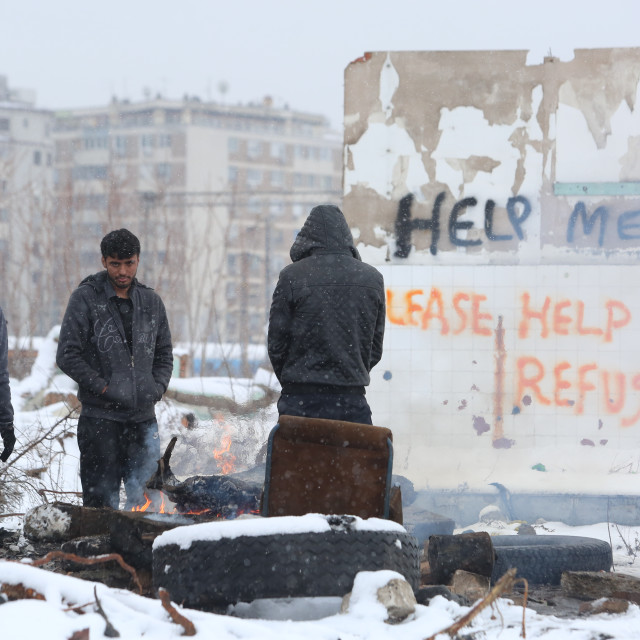 """Refugees in Serbia during the winter"" stock image"
