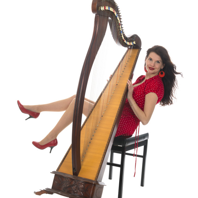 """""""Young woman with decachord"""" stock image"""