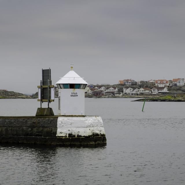 """""""one old lighthouse on swedish westcoast"""" stock image"""