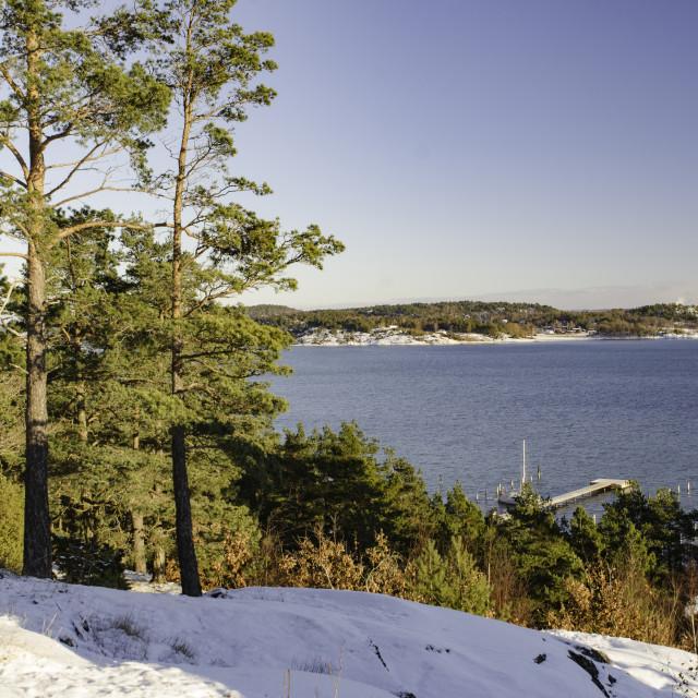 """one cold winterday on swedish westcoast"" stock image"