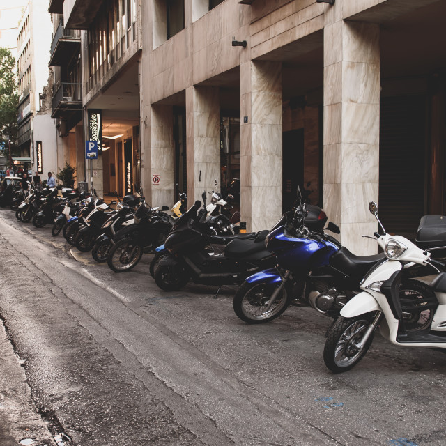 """""""Scooters at parking in small street. Athens, Greece."""" stock image"""