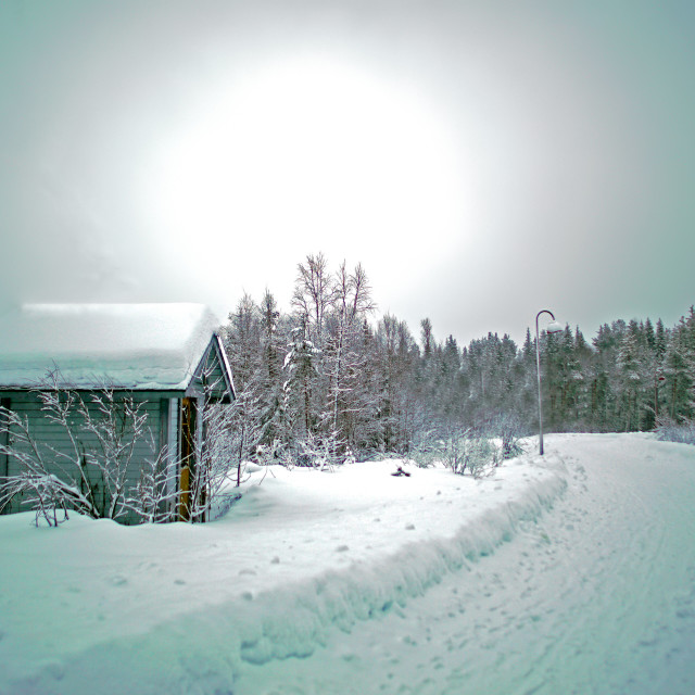 """A cabin in the snow"" stock image"