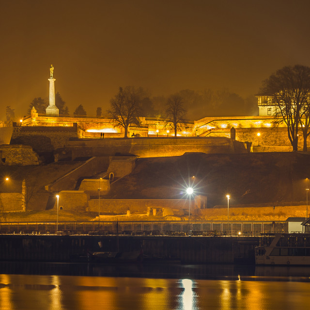 """Belgrade fortress by night"" stock image"