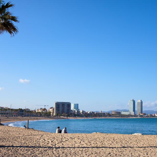 """Barceloneta Beach in Barcelona"" stock image"