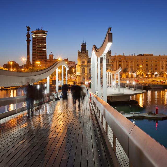 """Rambla del Mar over Port Vell in Barcelona at Night"" stock image"