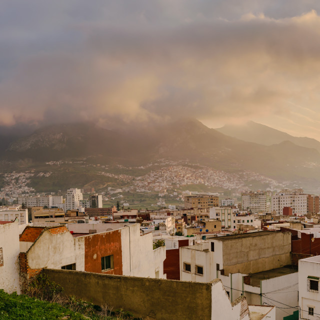 """View over Tetouan at sunset, Morocco"" stock image"