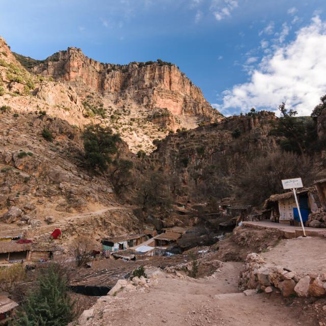 """Village near the Sources d' Oum er- Rbia, Atlas, Morocco"" stock image"