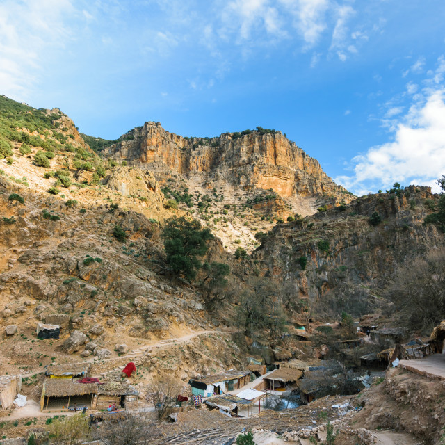 """Small village near the Sources d' Oum er- Rbia, Morocco"" stock image"