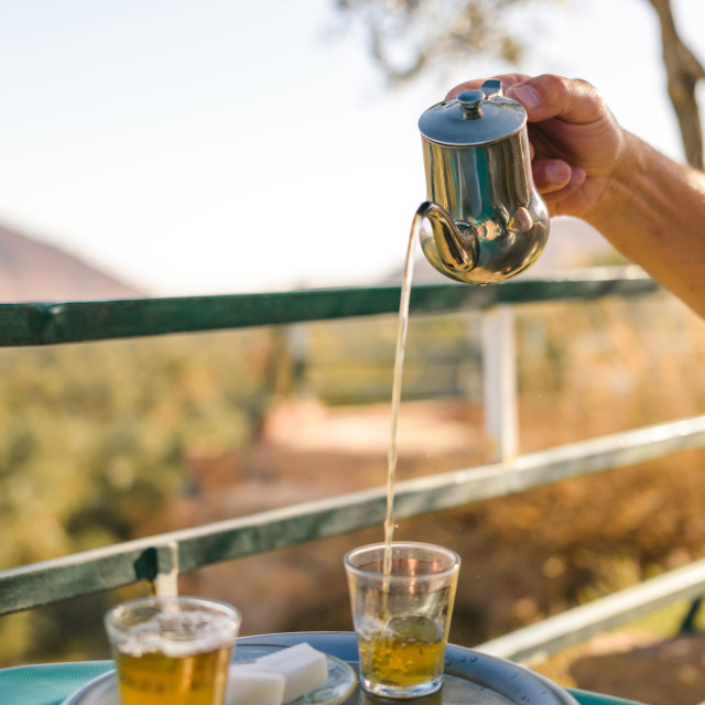 """""""Preparation of mint tea, Moroccan style"""" stock image"""