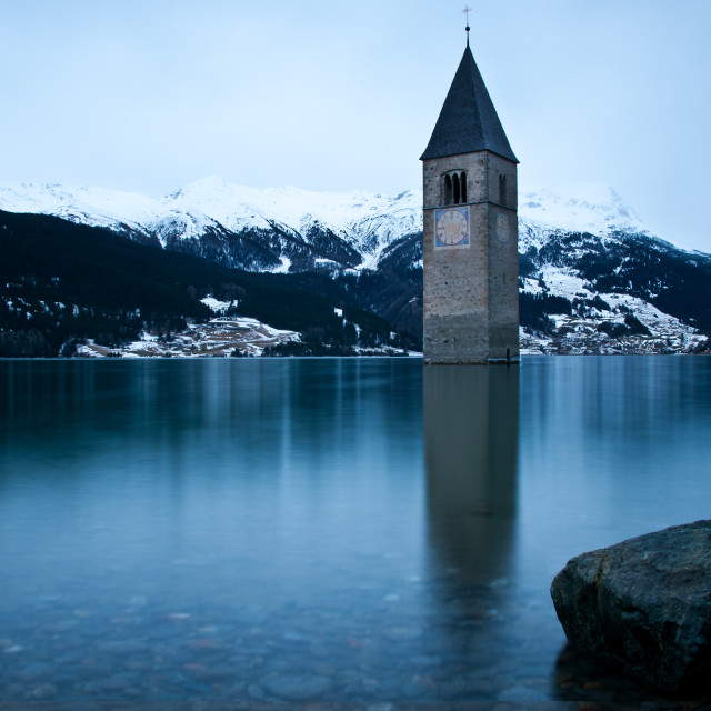 """Old Tower Lake Resia"" stock image"