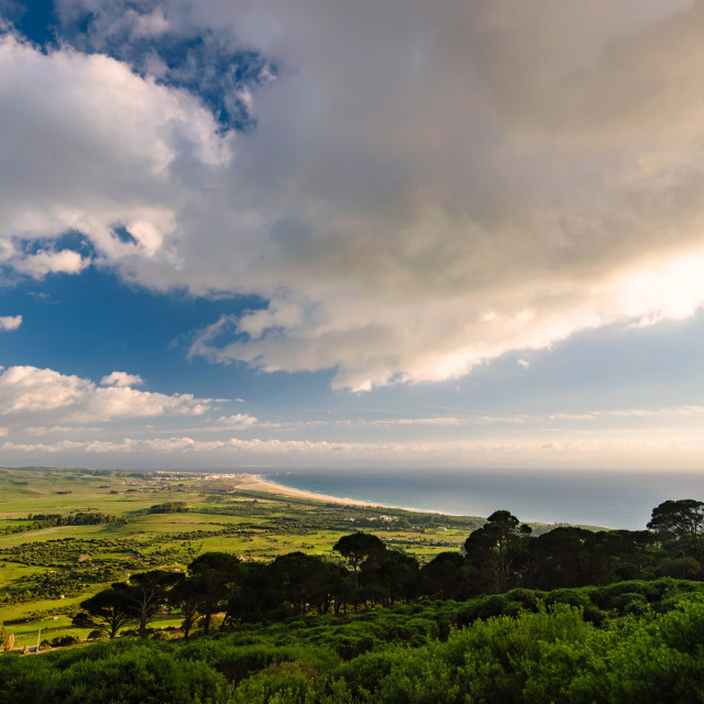 """Great view over Tarifa, Strait of Gibraltar, Spain"" stock image"