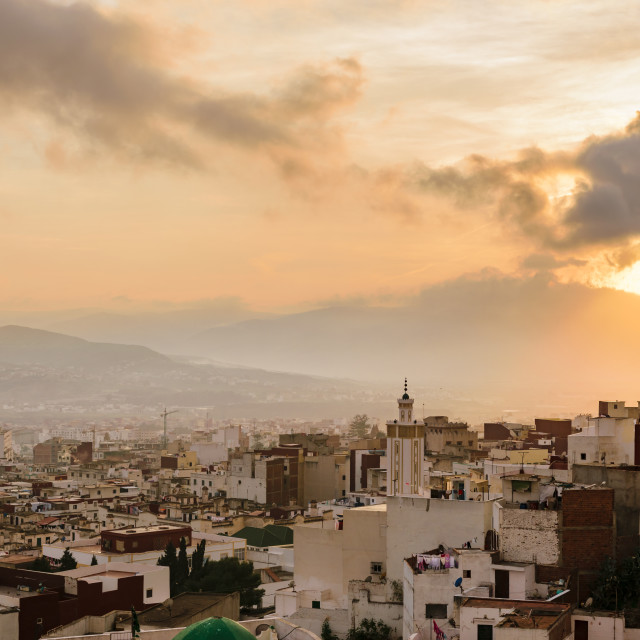 """Sunset over Tetouan, Morocco"" stock image"