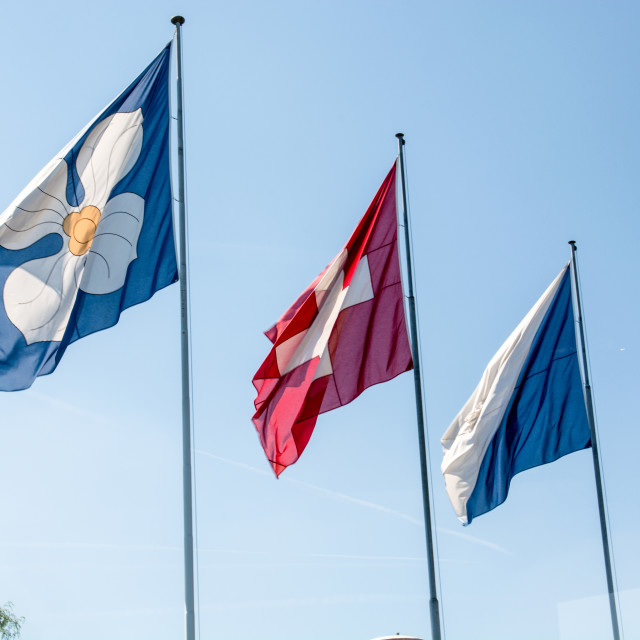"""Flags of Zurich and Switzerland"" stock image"