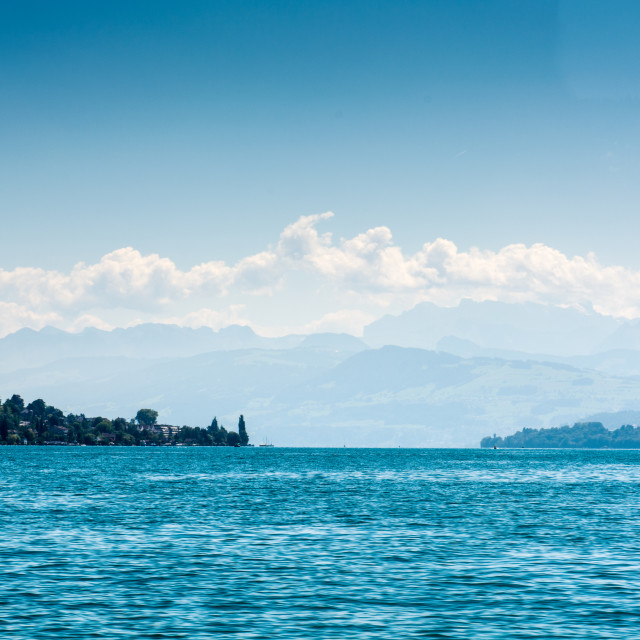 """Lake Zurich with alps"" stock image"