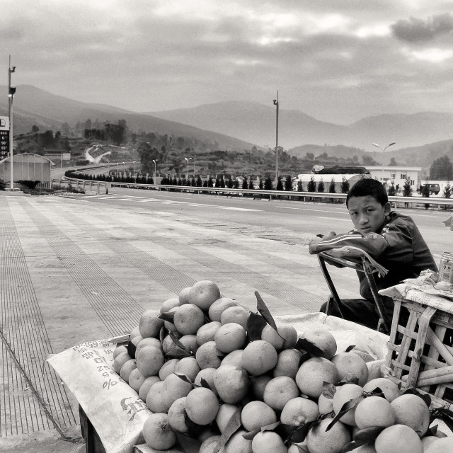 """Fruit Mobile Stall on highway, China"" stock image"