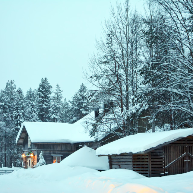 """Wooden Cabin on a Winters day"" stock image"