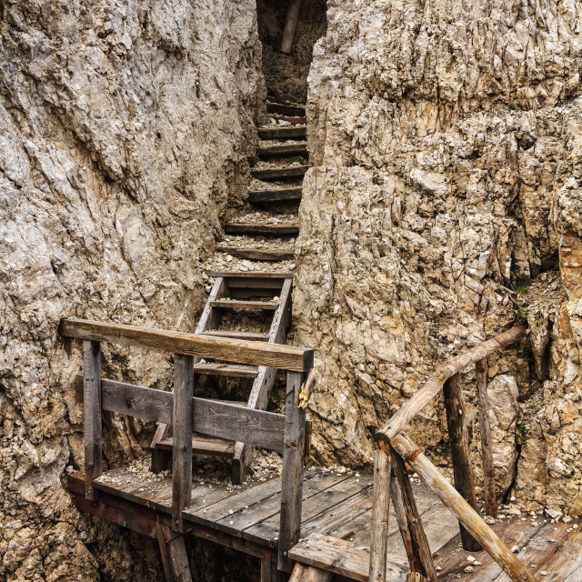 """Dolomiti - old WW1 trench"" stock image"