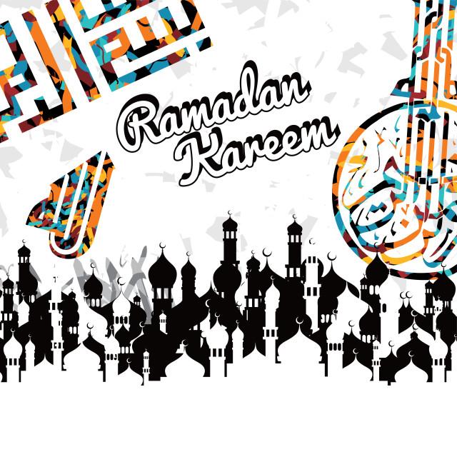 """islamic abstract calligraphy art ramadan kareem"" stock image"