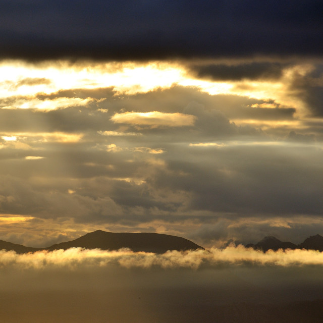 """""""Early morning light about Highland mountains"""" stock image"""