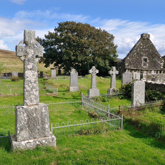 """Churchyard at St Mary's church, Dunvegan, Skye"" stock image"