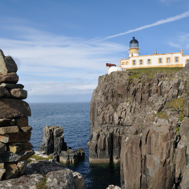 """Cairn near Neist Point Lighthouse - Skye"" stock image"