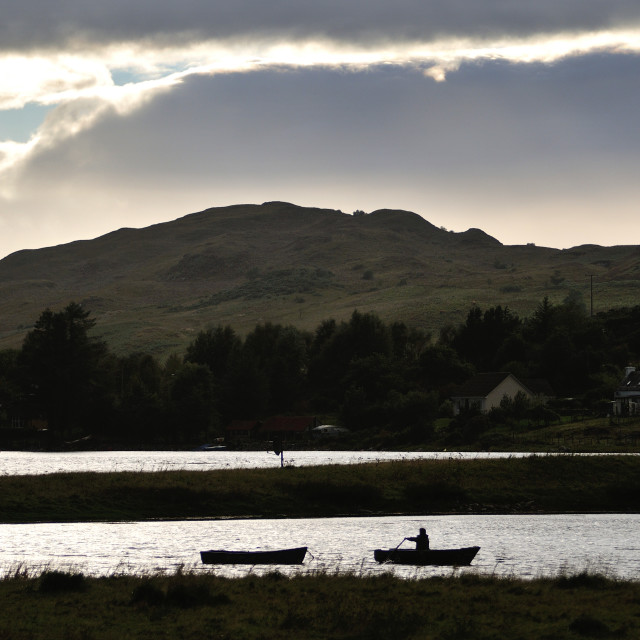"""""""Rowing to shore, Highlands of Scotland"""" stock image"""