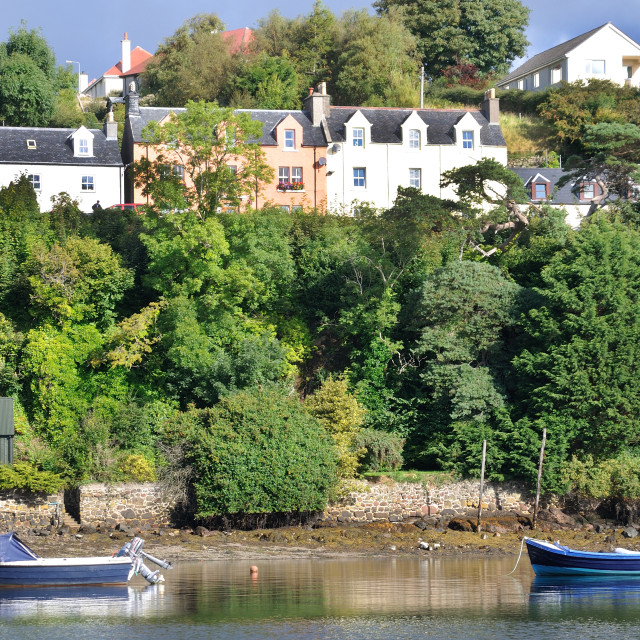 """The harbour at Portree, Isle of Skye"" stock image"