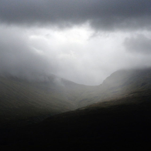 """Rain over the mountains - Scottish Highlands"" stock image"