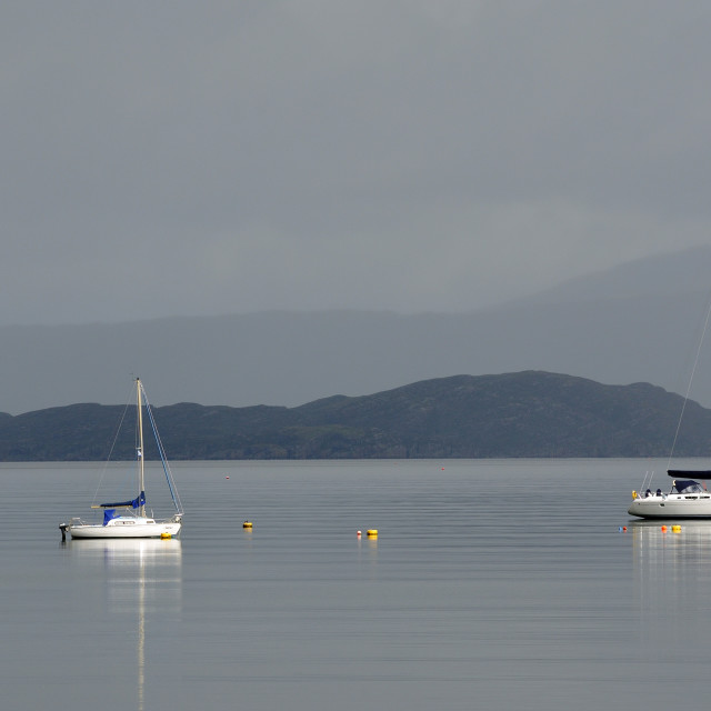 """Yachts at anchor, Broadford, Isle of Skye"" stock image"