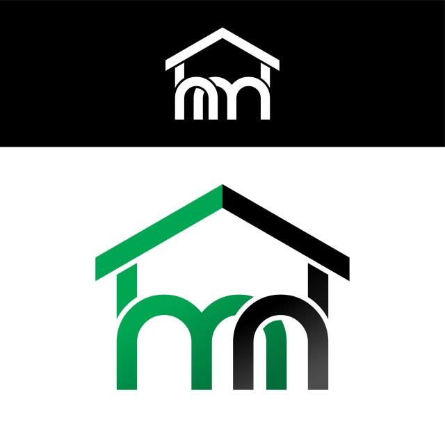 """house home realty linked overlapped uppercase logo green black"" stock image"