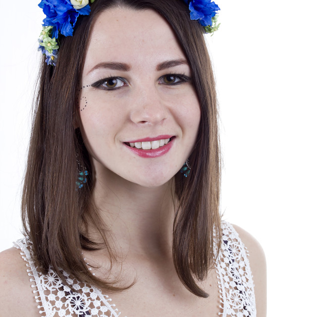 """""""Young beautiful woman with flower wreath on head"""" stock image"""