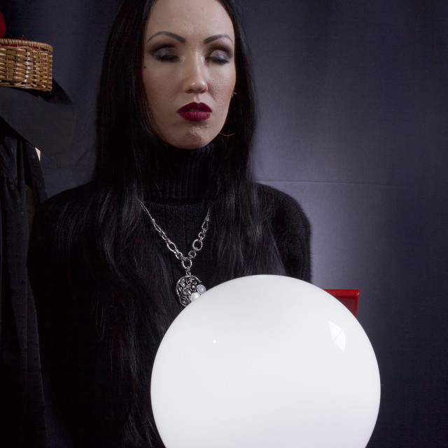 """""""Fortune teller with a magic ball"""" stock image"""