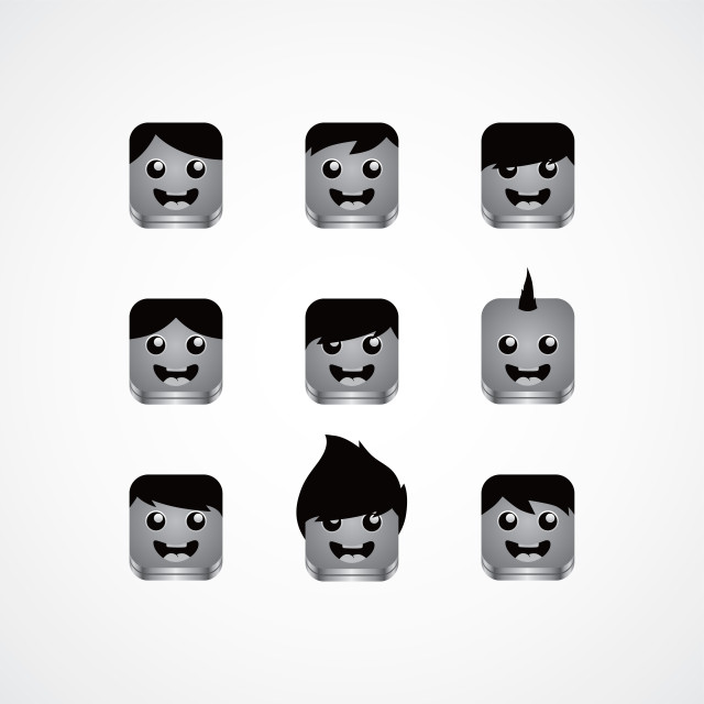 """male avatar portrait set"" stock image"