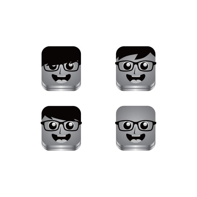 """geek guy avatar portrait set"" stock image"