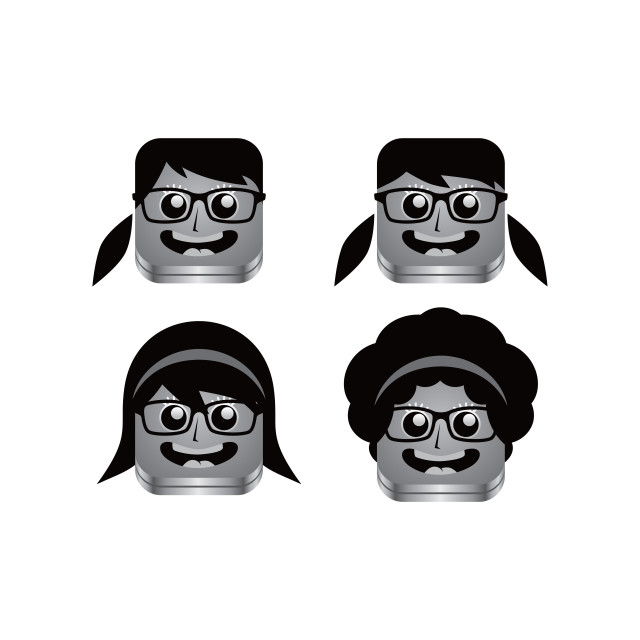 """geek girl avatar portrait set"" stock image"