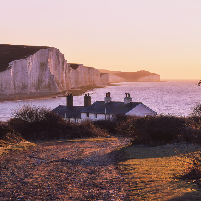 """The Seven Sisters and coast guard cottages, Sussex"" stock image"