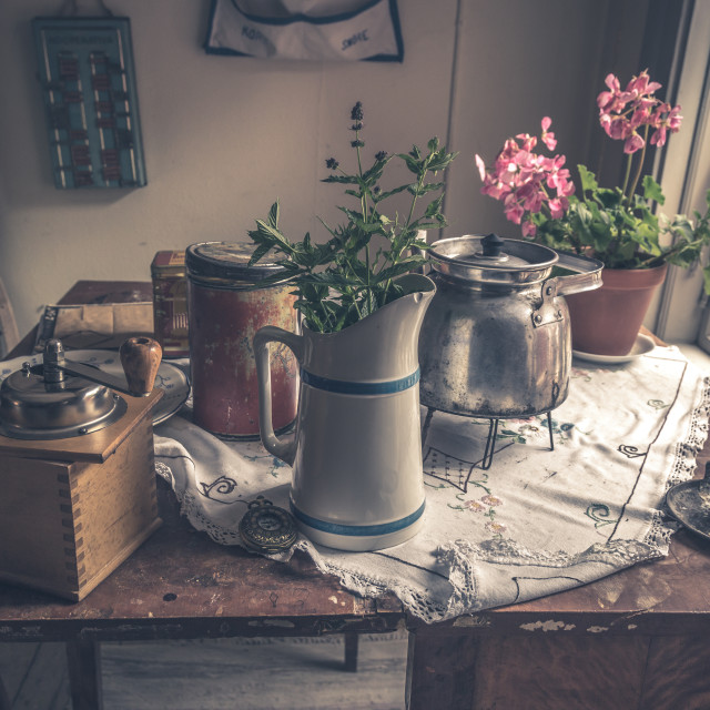 """Old house kitchen table"" stock image"