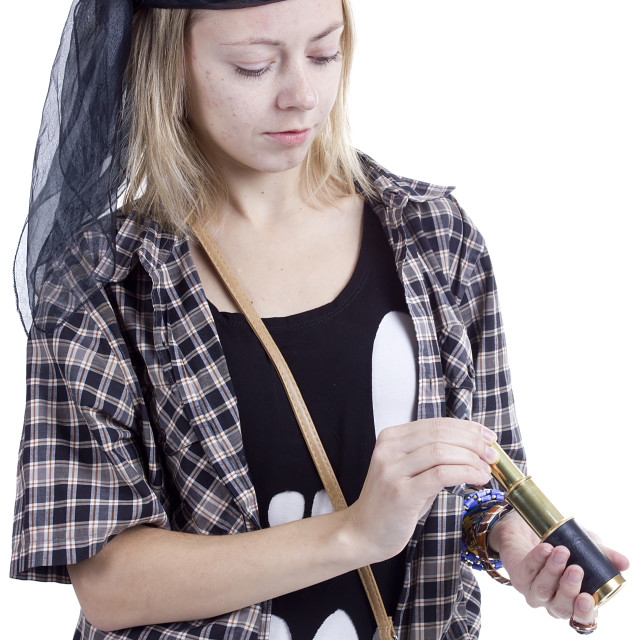 """""""Young woman in the image of a pirate"""" stock image"""