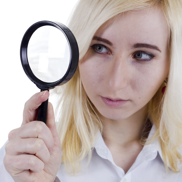 """woman with magnifier glass"" stock image"